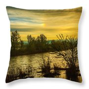 Sunrise On The Payette River Throw Pillow