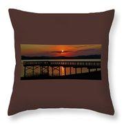Sunrise Over The Pier Throw Pillow
