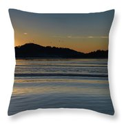 Sunrise Waterscape And Silhouettes Throw Pillow