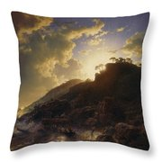 Sunset After A Storm On The Coast Of Sicily Throw Pillow