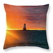 Sunset And Lighthouse Throw Pillow