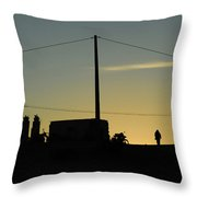 Sunset And Silhouette At El Djorf. Tunisia Throw Pillow