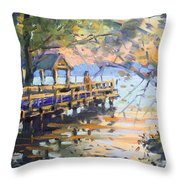 Sunset At Fishermans Park Throw Pillow