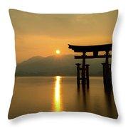 Sunset At Miyajima's Torii Throw Pillow