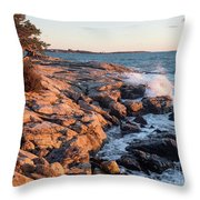 Sunset At Ocean Point, East Boothbay, Maine  -230204 Throw Pillow