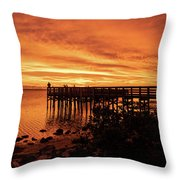 Sunset At The Pier Throw Pillow