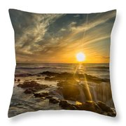 Sunset At Thor's Well Throw Pillow