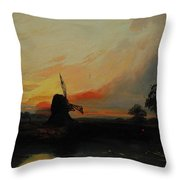 Sunset By The Windmill Throw Pillow