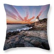 Sunset, Castle Hill Lighthouse  Throw Pillow