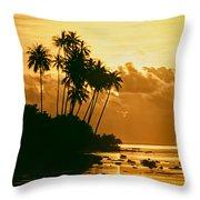 Sunset In Atiha, Moorea, French Polynesia Throw Pillow