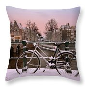 Sunset In Snowy Amsterdam In The Netherlands In Winter Throw Pillow