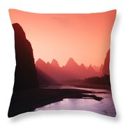 Sunset Over Li River Throw Pillow