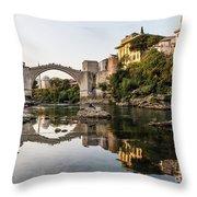 Sunset Over The Famous Mostar Bridge Throw Pillow