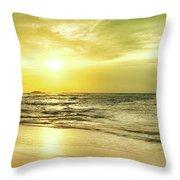 Sunset Over The Sea. Panorama Throw Pillow