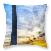 Sunset Washington Monument Throw Pillow