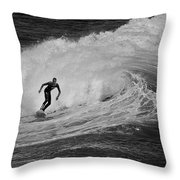 Surfing Off The Coast Of Montecito California Throw Pillow