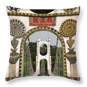 Suspension Bridge With Tribal Decorations Throw Pillow