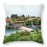 Sveti Stefan, Montenegro Throw Pillow