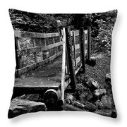 Swan Creek Footbridge Throw Pillow