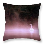 Swan In The Mist Throw Pillow