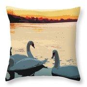 Swans At Sunset Throw Pillow