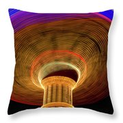 Swing Amusement Ride At Night Throw Pillow