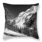 Swiss Winter Mountains Throw Pillow