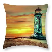 Talacre Lighthouse - Wales Throw Pillow