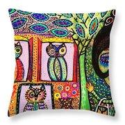 Talavera Owl Tree House Throw Pillow