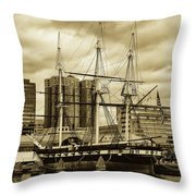 Tall Ship In Baltimore Harbor Throw Pillow