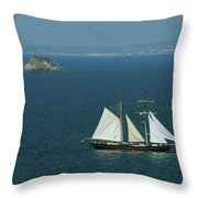 Tall Ship Passing Thatcher's Rock, Torbay Throw Pillow