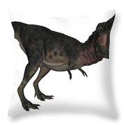 Tarbosaurus Dinosaur Roaring, White Throw Pillow