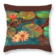Teal Waterlilies 8 Throw Pillow