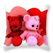 Teddy Bearz Valentine Throw Pillow