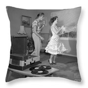 Teen Couple Dancing At Home, C.1950s Throw Pillow