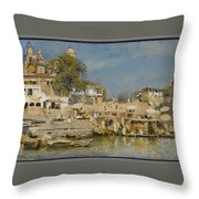 Temples And Bathing Ghat Throw Pillow