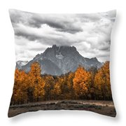 Teton Fall - Modern View Of Mt Moran In Grand Tetons Throw Pillow