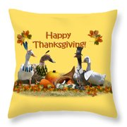 Thanksgiving Ducks Throw Pillow