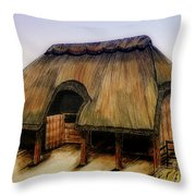 Thatched Barn Of Old Throw Pillow