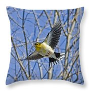 The American Goldfinch In-flight, Throw Pillow