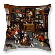 The Archdukes Albert And Isabella Visiting A Collector's Cabinet Throw Pillow