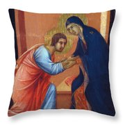 The Arrival Of The Apostles To The Virgin Fragment 1311  Throw Pillow