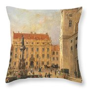 The Austria Fountain On The Freyung In Vienna With Rich Figural Throw Pillow