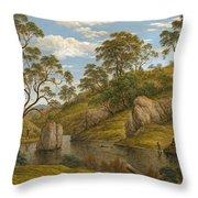 The Bath Of Diana. Van Diemen's Land Throw Pillow
