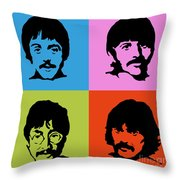 The Beatles Colors Throw Pillow