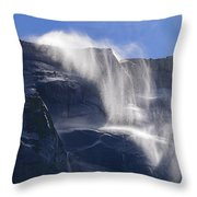 The Beautiful Bridalveil Falls Of Yosemite Throw Pillow
