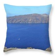 The Beautiful Caldera In Santorini, Greece With The Aegean Sea Throw Pillow