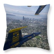 The Blue Angels Over Seattle Throw Pillow