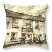 The Bull Pub Theydon Bois Vintage Throw Pillow