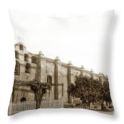 The Campanario, Or Bell Tower Of San Gabriel Mission Circa 1890 Throw Pillow